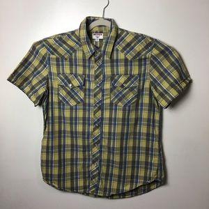 True Religion s/s pearl snap plaid shirt. XL